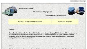 MofE Safety Bulletins - printout page