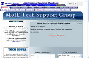 Maintenance of Equipment Tech Support Group webpage and created a common logbook for all locations